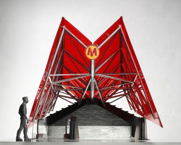 Wstępny projekt wejścia do stacji II linii metra. Na Powiślu miałoby mieć kolor zielono-niebieski - fot. AMC Chołdzyński
