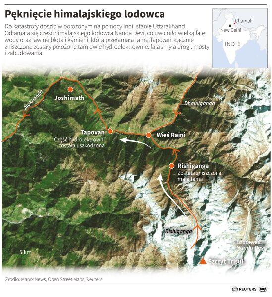 Pęknięcie himalajskiego lodowca (Adam Ziemienowicz/PAP/Reuters)