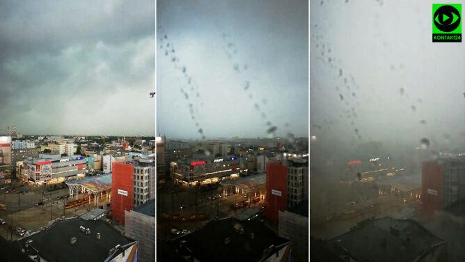 Pogoda zmieniła się w kilkanaście minut. Zobacz nagranie z Łodzi
