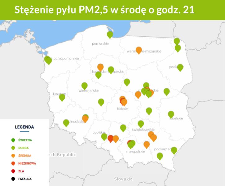 Stężenie pyłu PM2.5 w powietrzu. Stan na 21 (GIOŚ)