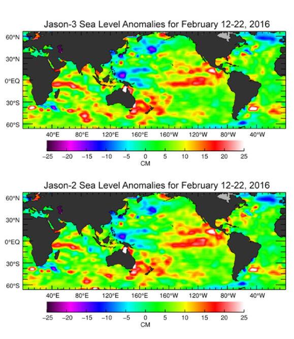 Mapy poziomu wód wykonane przez satelity Jason-3 i Jason-2
