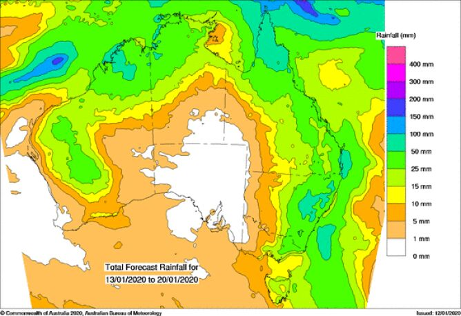 Suma opadów w Australii między 13 a 20 stycznia (BOM/twitter.com/NSWRFS)