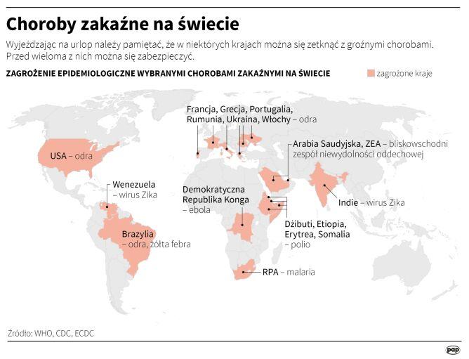 Choroby zakaźne na świecie (Maciej Zieliński/PAP)