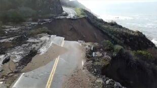 Ogromny fragment autostrady runął do oceanu w Kalifornii. Służby pokazały nagranie