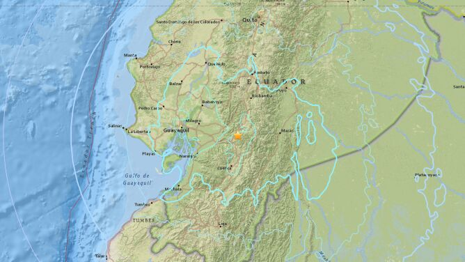 Uszkodzone budynki, osuwiska. <br />W Ekwadorze zatrzęsła się ziemia