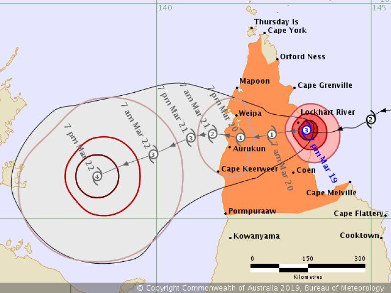 Prognozowana trasa cyklonu Trevor - 19 marca, godzina 12 (Bureau of Meteorology, Australia)