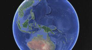Katastrofalne powodzie w Indonezji (Google Earth)